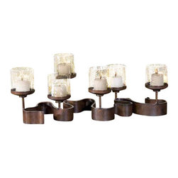 Uttermost Ribbon Metal Candleholders - Antiqued bronze metal with transparent copper brown glass. Beige candles included. Swirled, antiqued, bronze metal with transparent copper brown glass. Beige candles included.