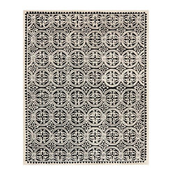Safavieh - Zagora Hand Tufted Rug, Black / Ivory, 8' X 10' - Construction Method: Hand Tufted. Country of Origin: India. Care Instructions: Vacuum Regularly To Prevent Dust And Crumbs From Settling Into The Roots Of The Fibers. Avoid Direct And Continuous Exposure To Sunlight. Use Rug Protectors Under The Legs Of Heavy Furniture To Avoid Flattening Piles. Do Not Pull Loose Ends; Clip Them With Scissors To Remove. Turn Carpet Occasionally To Equalize Wear. Remove Spills Immediately.