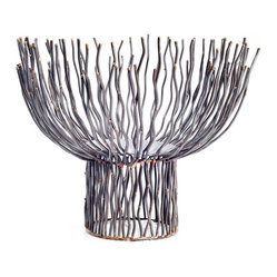 Rojo16 - Large Pedestal - Twig-like spindles encircle the flickering flame to create a harmonizing effect.  Beautifully handcrafted from iron, this contemporary candleholder is both durable and unique. The attractive gray-green finish adds to its rustic charm.