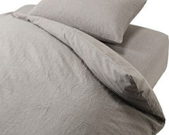 Washed Cotton Duvet Cover - This is my all-time favorite duvet cover. It is a perfect shade of light gray, and it's soft to boot. It would play against white sheets and a wood headboard beautifully.