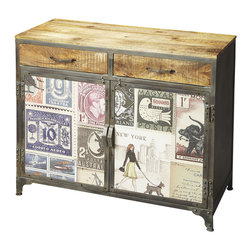 Butler Specialty Furniture - Industrial Chic Console Cabinet 2589290 - This wonderfully unconventional Console Cabinet is packed with style and function, including abundant storage space inside drawers and behind doors. Crafted from recycled solid wood and metal frame in an unadulterated natural wood finish on top and drawer fronts with door fronts papered over with exotic currency, stamps and a hint of a letter. This odd combination all comes together to ensures this piece sits comfortably in a fashion-forward, post-modern industrial zone. Only listed product included.