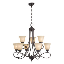 Nova-Multi-Tier Chandelier - Beautifully flowing arms provide a clean, elegant look to this collection offered in Satin Nickel with Marbleized glass.