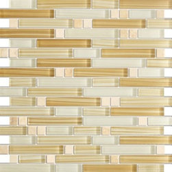 Zen Jura Gold Polished Random Bricks Marble & Glass Tiles, Sample - Random Bricks Pattern Zen Jura Gold Polished & Froasted Mesh-Mounted Marble & Glass Mosaic Tile is a great way to enhance your decor with a traditional aesthetic touch. This Mosaic Tile is constructed from durable, impervious Marble & Glass material, comes in a smooth, unglazed finish and is suitable for installation on floors, walls and countertops in commercial and residential spaces such as bathrooms and kitchens.