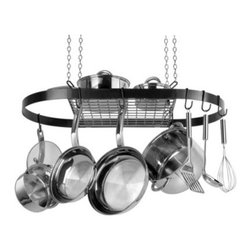 """Generals Black Oval Pot Rack - Save space and gain style with the Generals Black Oval Pot Rack. This classic pot rack supports up to 40 pounds of your cookware and includes all of the necessary installation hardware. Hang all of your pans with """"""""S"""""""" and """"""""J"""""""" hooks. Included are 4-S hooks and 12 J-hooks. Use the rack itself as a shelf for lid or large item storage. This piece is constructed of durable metal with a neutral matte black finish. A five-year limited household warranty is included. About Range KleenHeadquartered in Lima Ohio Range Kleen has been supplying consumers with top quality range replacement parts for over 30 years. In recent years the company has expanded their line to include various range accessories and kitchen cookware and they are well known for their attention to detail use of superior materials and high quality craftsmanship. Range Kleen holds the #1 brand ranking in range accessories and has held that position since 1992. After trying their cookware we think you'll understand why."""