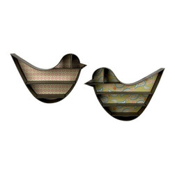 "IMAX CORPORATION - Madaline Bird Wall Shelves - Set of 2 - Madaline Bird Wall Shelves. Set of 2 in various sizes measuring around 27""H x 38.5""W x 8"" each. Shop home furnishings, decor, and accessories from Posh Urban Furnishings. Beautiful, stylish furniture and decor that will brighten your home instantly. Shop modern, traditional, vintage, and world designs."
