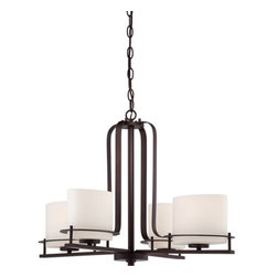 Nuvo Lighting - Nuvo Lighting 60/5004 Loren Four-Light, Single-Tier Chandelier, Finished in Vene - Nuvo Lighting 60/5004 Loren Four-Light, Single-Tier Chandelier, Finished in Venetian Bronze with Oval Frosted Glass ShadesFinished in venetian bronze with etched opal glass or white linen shades, the unique chandeliers, pendants and vanities of the Loren Collection add a bold country look to kitchens, dining, living areas and baths - anywhere a distinctive design touch and soft task or ambient lighting is needed.Nuvo Lighting 60/5004 Features:
