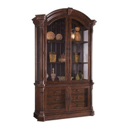 A.R.T. Furniture - A.R.T. Furniture Whiskey Oak China Cabinet Multicolor - ARTF533 - Shop for China from Hayneedle.com! Gorgeous and rustic the A.R.T. Furniture Whiskey Oak China Cabinet gives you ample storage space while adding beauty and style to your home. Its rich hand distressed barrel oak finish beautifully accents the wood craftsmanship of the china cabinet. The arched top with architectural key and column pilasters with corbels and rosette blocks adds a hint of elegance and sophistication. Antique-style seeded glass doors and curio ends complete the look. Two doors on the base conceal six interior drawers one with a silverware tray that helps you to stay organized in a beautiful manner. Additional Features Antique-style seeded glass doors and curio ends 2 doors on base conceal 6 interior drawers Includes a silverware tray About A.R.T. FurnitureA.R.T. Furniture is quality furniture inspired by architecture and design. A.R.T. Furniture pieces are top-quality and are loaded with practical and luxurious features. Extra steps are taken to ensure quality beauty and durability. English dovetailing dust-proofing on all cases with wood guides and wood-on-wood drawer guides show fine craftsmanship. A UV finishing process on the drawer interiors provides a smooth durable finish and snag-free storage. All bottom drawers of bedroom storage pieces are lined with aromatic red cedar. Jewelry trays in bedroom pieces and silverware liners in dining pieces keep items protected. Any media pieces feature sophisticated wire management and ventilation solutions.