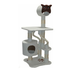"MAJESTIC PET PRODUCTS - 49"" Casita Cat Tree - This faux fur cat tower features several rope toys and an elevated tunnel for your cat's amusement. She can take a nap in the kitty house with its porthole entrance or supervise the action from the lookout platform. Easy for humans to assemble."