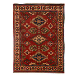 """ALRUG - Handmade Red/Rust Oriental Kargai Rug 5' x 6' 8"""" (ft) - This Afghan Kargai design rug is hand-knotted with Wool on Cotton."""