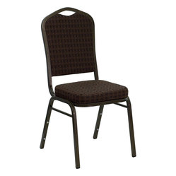 Hercules Series Crown Back Stacking Banquet Chair with Brown-Patterned Fabric