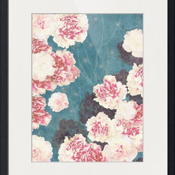 Imagekind - Night Peonies Blue, Framed Art Print - Nancy draws inspiration from nature, fashion, and interior design.  Hand-painted shapes and textures pulse among the buzz of digital geometries. Pop art and mod motifs incorporated with symmetry, repetition and vibrant colors create bold patterns that make for great modern wall décor in any space.