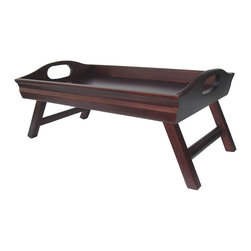 Winsome - Sedona Bed Tray Curved Side - Traditional bed tray with a design twist. Finished in warm antique walnut and made from solid wood. Large handles and folding legs for easy storage. Serve your favorite breakfast on this great tray.