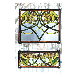 Meyda - 21 Inch Width x 26 Inch Height Water Lily 2 Piece Windows - Color theme: Blue Bapa Amber