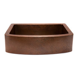 Premier Copper Products - 33 in. Copper Hammered Kitchen Rounded Apron - Configuration: Rounded Apron Front Single Basin Sink. Design: Hammered Copper Surface. Color: Oil Rubbed Bronze. Inner Dimension:29 in. x 20 in. x 9 in.. Outer Dimension: 33 in. x 24 in. x 9 in.. Apron Depth: 9 in.. Installation Type: Under Counter or Surface-Mount. Countertop Depth Required: 25 in. Front to Back. Material Gauge: Industry Best (14 Gauge or .0625 in.). Drain Size: 3.5 in.. Suggested Drain Models: D-130ORB, D-132ORB. Drain not included. Garbage Disposal: OK. Faucet Mounting: Counter Deck Mount. Hand Made. 100% Recyclable. Composition: 99.7% Pure Recycled Copper. Lead Free (< .01%). Patina: Fired. Packaging: Wood Crate. Warranty: Limited Lifetime. Includes Mounting & Care InstructionsUncompromising quality, beauty, and functionality make up this Premier 33 in. Copper Hammered Kitchen Rounded Apron Single Basin Sink. Each Premier Copper Sink is optimized to allow ample room to deck mount your faucet in a standard 25 in. countertop. Green Recyclable Products like Copper Sinks are a must have in today's modern home. This product is sure to impress your guests and satisfaction is always guaranteed.