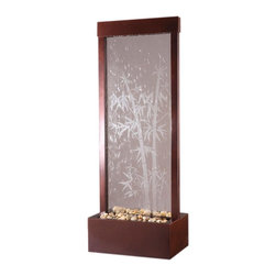 BluWorld of Water - Bamboo Etched Floor Fountain - Suitable for indoor and outdoor use. Tempered glass panel. Polished river rocks. Quiet submersible pump. No assembly required. 18 in. W x 12 in. D x 48 in. H (37 lbs.)48 in. H Floor fountain with center mount Bamboo etched. Enhance your surroundings with the Gardenfall. The water flowing passed polished river rock creates a mood of serenity as it humidifies and cleanses the air, promoting a healthier living environment. Features a glass-etched Bamboo design and dark Copper frame, which makes a stunning focal point in any garden or interior space. Durable materials and quiet operation make the Gardenfall a wonderful addition, indoors or out.