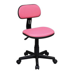 Office Star - Task Chair in Pink - One touch pneumatic Seat height adjustmentSwivel 360Heavy duty nylon base with dual wheel carpet castersFabric: PinkSeat Size: 16.5 in. W x 15 in. D x 2 in. TBack Size: 15 in. W x 8.5 in. H. 19.75 in. D x 16.5 in. W x 34.25 in. H (18 lbs.)