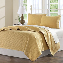 """Hampton Hill - Calypso Coverlet Set in Gold - Features: -Twin set includes one coverlet and standard sham. -Queen set includes one queen coverlet and two standard shams. -King set includes one coverlet and two King shams. -Fabric material: 150TC 100% Cotton quilted. -Filling material: 200gsm Cotton. -Gold color. -Dry clean only. -Dimensions: 70""""-110"""" Height x 90""""-96"""" Width."""