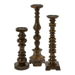 iMax - iMax Nilay Wood Candleholders In Old Oak Finish - Set of 3 X-3-6355 - A collection of 3 wooden candleholders, finished in an old oak and each complimentary in design.