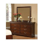 Alpine Furniture - West Haven Dresser and Mirror Set - Dresser with six drawers. Metal knelling rails at bottom. 1 in. mirror frame thickness. Six months warranty. Made from rubber wood solids and poplar veneers. Cappuccino finish. Made in Vietnam. No assembly required. Dresser: 59.5 in. W x 17.5 in. D x 33.75 in. H. Mirror: 36 in. W x 38.25 in. H