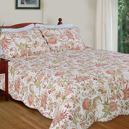 None - Flowers in Paradise 3-piece Quilt Set - This lovely floral quilt set freshens up your bedroom, bringing positive energy and a harmonious color palette to your decor. The 100-percent crisp cotton quilting is machine washable, adding to the comfort and quality of this joyful piece.