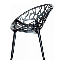 Compamia ISP052-TBL Crystal Polycarbonate Modern Dining Chair - Transparent Blac - The organic, vine-like pattern that makes up the rounded seat of the Compamia ISP052-TBL Crystal Polycarbonate Modern Dining Chair - Transparent Black - Set of 2 is certainly fun to look at, but you should really try sitting in it. Each chair is formed from an unbreakable polycarbonate with a color that's simultaneously black and transparent, making it substantial and light at the same time. The polycarbonate material is UV- and moisture-resistant, making it very durable and even easier to clean. These stackable chairs are an ideal choice for home or restaurant settings, and can be used indoors or out.