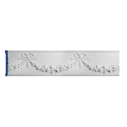 """Inviting Home - Patricia Decorative Frieze Molding - Decorative Frieze Molding 8-5/8""""H x 1-3/8""""P x 6'6""""L molding design repeat - 15-3/4"""" frieze sold in length of 6'6"""" 4 piece minimum order required chair-rail molding specifications: - outstanding quality chair-rail molding made from high density polyurethane: environmentally friendly material is hypoallergenic and fully recyclable no CFC no PVC no formaldehyde; - front surface of this molding has extra durable and smooth surface; - chair-rail molding is pre-primed with water-based white paint; - lightweight durable and easy to install using common woodworking tools; - metal dies were used for consistent quality and perfect part to part match for hassle free installation; - this chair-rail molding has sharp deep and highly defined design; - matching flexible molding available; - chair-rail molding can be finished with any quality paints; Polyurethane is a high density material--it's extremely lightweight and easy to install (and comes primed and ready to paint). It is a green material meaning its CFC and formaldehyde free. It is also moisture resistant--so it won't shrink flex or mold. What's also great about Polyurethane is that it's completely customizable and can be treated as wood (you can saw it nail it screw it and sand it). In addition our polyurethane material comes primed and ready to paint. There is a four piece minimum requirement for this molding purchase."""