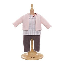 Corolle Mon Classiques Bebe 14 in. Blouse & Cardigan Pants Doll Ensemble - The Corolle Mon Classiques Bebe 14 in. Blouse & Cardigan Pants Doll Ensemble is one smart little outfit. This beautifully sewn and finished ensemble includes grey corduroy pants, a plaid top, and soft pink cardigan. A stylish outfit, this one is designed to fit her 14-inch baby doll.About CorolleCorolle is a premier doll brand designed in the storybook region of France's Loire Valley. Since 1979, Corolle has been creating highly detailed dolls designed to be cherished by children everywhere. Every Corolle doll will inspire magical childhood memories that will last for a lifetime. Corolle dolls look and feel as real as possible. They're created of soft, supple vinyl, have natural-looking hair, and wear on-trend fashions. Corolle dolls are designed durable enough to withstand years of hugs and love. Perfect heirloom treasures! Doll play encourages children to explore different roles from caring for and sharing hopes and dreams to finding an understanding playmate and friend for life. Corolle designs dolls for children of all ages.There is a range of Corolle dolls designed for specific ages. Babi Corolle is a soft-body doll perfect for newborn babies and older. It's machine-washable, feather-light, and made to be loved. Mon Premier Corolle is designed for babies 18 months and older. This line includes a range of baby dolls, clothing, and accessories. The dolls are lightweight and soft. The clothing has Velcro closures so it's easy to put on and take off. Mon Classique Corolle is a classic baby doll designed for toddlers to love and nurture. This line has a complete assortment of larger baby dolls, clothing, and nursery accessories. Some even have hair that can be brushed and styled. Others coo, giggle, drink, and go potty. Mademoiselle Corolle is a toddler doll for toddlers. These dolls have expressive faces, silky long hair, and are dressed in the latest styles. This doll will be your little one's best friend. She's perfect for sharing secrets and working out new hairstyles and fashion. Les Cheries Corolle is designed for little ones four years and older. She has long, lush, rooted hair and an amazing wardrobe of stylish outfits. This doll provides endless hours of fashion and hair play.