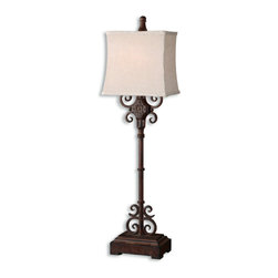 Uttermost - Cubero Rustic Wrought Iron Table Lamp - Billy  Moon's  rustic  table  lamp  excites  a  distressed  rust  brown  finish  with  black  undertones.  The  rectangle  shade  creats  a  classy  feel  in  every  room  with  it's  off  white  color  and  natural  slubbing.  Click  here  to  see  all  of  our  rustic  lamps.