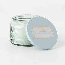 """Anthropologie - Voluspa Japonica Mini Candle - 25 hour burn time. Coconut wax blend. 2""""H, 2.75"""" diameter . 3.2 oz . USA. Mokara: Mokara orchid, white lily and spring moss . Santiago Huckleberry: sweet and spicy, with hints of vanilla pod and sugarcane . Baltic Amber: forest scents of sandalwood and cedar. French Cade: a refreshing blend of French cade wood, lavender, verbena and moss. Goji Berry: cold-pressed tarocco orange blended with sun-dried goji berries. Crane Flower: ripe grapefruit, geranium and lavender"""