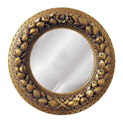 Hickory Manor House - Nut Ring Mirrored Medallion in Bronze Finish - Vintage original. Custom made by artisans unfortunately no returns allowed. Enhance your decor with this graceful medallion. Made in the USA. Made of pecan shell resin. 12 in. Dia. (8 lbs.)