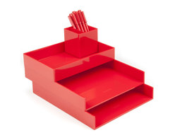 Poppin - Desktop, Red - Bundle includes: Red Letter Trays; Red Accessory Tray; Red Pen Cup; 1 box Red Signature Ballpoints