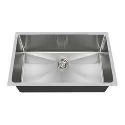 "MR Direct - MR Direct 3120S Undermount Single Bowl 3/4"" Radius Stainless Steel Kitchen Sink - With its curved corners, the 3120S is designed to provide a softer look and easier cleaning. It is the larger of the two single-bowl, 3/4'' radius sinks that we offer. Certain to handle any size kitchen chore, the 3120S is formed from a single piece of 18-gauge, 304 grade, stainless steel.  The overall dimensions of the 3120S are 31 1/4"" x 18"" x 9"" and a 33"" minimum cabinet size is required.  Durable and distinctive, its brushed satin finish will help to conceal any minor scratches that could occur through extensive use. Covered by our limited lifetime warranty, your satisfaction is guaranteed. All our stainless steel sinks are completely insulated and come with sound dampening pads so that condensation and excessive noise are no longer a problem. Strainers not included."