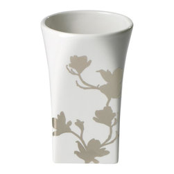 Home Decorators Collection - Carissa Bath Tumbler - Our Carissa Collection boasts a beautiful floral design in platinum atop a white porcelain construction. The abstract design allows each piece to feel at home in any bathroom decor style, from modern to traditional. Our Carissa Bath Tumbler is beautiful enough to sit permanently next to your sink to ensure that you can always have a sip of water. Update your bath accessories with this beautiful collection; order today. Fine white porcelain construction with platinum design. Wipe clean.