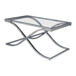"""Holly & Martin - Holly & Martin Roxburgh Cocktail Table - The contemporary elegance of this cocktail table will bring a pleasantly distinct style to your home. The metal frame is finished in brilliant chrome that will add a """"wow"""" factor to your home. The base of this sturdy table consists of a curved """"X"""" which supports the solid top frame with inlaid glass. This elegant table can be used to achieve a formal atmosphere or a casual contemporary home setting."""