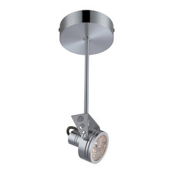Lite Source - Lite Source Elaxi Semi Flush Mount LED Ceiling Light XSL-ULA14171 - The circular canopy has been paired with a straight stem and industrial styled light head on this charming Lite Source semi-flush mount ceiling light. From the Elaxi Collection, this LED ceiling light features contemporary details and a modern Aluminum that add to its updated appeal.