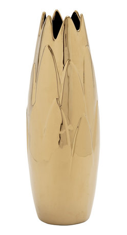 Customary Styled Ceramic Gold Bud Vase - Description: