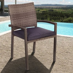 Liberty All-Weather Wicker Patio Dining Chair - Set of 4 - With or without a table, it's going to be a good summer with the Liberty All-Weather Wicker Patio Dining Chair - Set of 4. This set of outdoor chairs all sport an exterior of woven resin wicker. Resin wicker is similar to traditional wicker in appearance and texture, but the synthetic nature of the material makes it superior in its resistance to moisture, cracking and weathering. Each chair also has a rigid frame of lightweight, rust-proof aluminum that gives you a gently curved back and arms. The thick, squarebound cushion adds that touch of comfort that will have you sitting down for the best parts of the season.