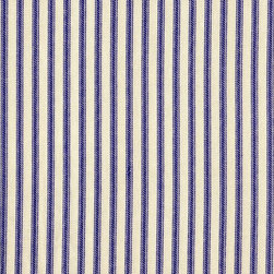 "Close to Custom Linens - 90"" Round Tablecloth Ticking Stripe Lavender with Gingham Topper - Classic ticking stripes give a vintage feel to this lovely cotton tablecloth. The lavender and cream combination is calming, while the stripes will create an exciting graphic background for your dinnerware."