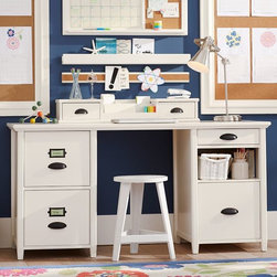 Chatham Large File + Storage Desk + Hutch - This stylish and functional desk offers plenty of storage space with its four drawers and one cubby hole — there's no excuse for messy papers! The larger drawers also feature labels for kids to identify contents.