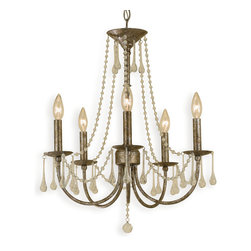 Kathy Kuo Home - Tracy Hollywood Regency Antique Gold Glass Drops 5 Light Chandelier - Think a grand piano, classical music compositions, a fine Bordeaux and dark, velvet curtains and you have the perfect setting for this haunting chandelier. Liberace would be proud.