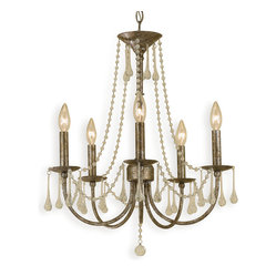 Tracy Hollywood Regency Antique Gold Glass Drops 5-Light Chandelier