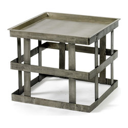 Vintage Farmhouse Occasional Table - The drum reminiscent with its banded flat top and strappy base, the Vintage Farmhouse Occasional table is subtle piece. It is crafted from quality steel in a completely unique style. It is polished well that show off a few scuffs and scrapes leftover by welding for a sophisticated hand crafted touch. Positioning this table as an accent to your area will be a nice option to keep all your stuff and accompany your outdoor seating. This square shaped table with its small size can be easily portable.