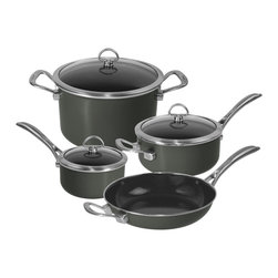 Chantal - Chantal Copper Fusion Cookware Set, Black, 7 Piece Set - Everyday cooking is easy with this 7 piece set of essential pots and pans.