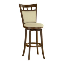 Hillsdale Furniture - Hillsdale Jefferson Swivel 30 Inch Barstool - The brown cherry finished Jefferson stool bridges the gap between transitional and traditional with it's comfortable upholstered seat and back. The neutral ivory fabric compliments any decor.