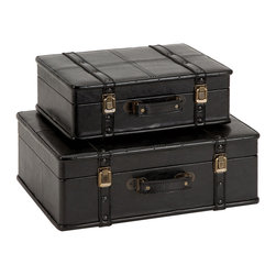 ecWorld - Leather Decorative Trunk Cases and Storage Accent Decor 2-Piece Set - Espresso - These stylish leather trunks are both attractive and functional. They are ideal for adding storage to your space as well as adding a beautiful accent to your decor. Ideal for a wide range of decor styles. Ready to display.