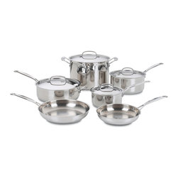"""Cuisinart Chef's Classic Stainless 10 Piece Cookware Set - The kitchens of France were the inspiration behind the elegant Cuisinart Chef's Classic Stainless Cookware Collection. Chef's Classic 10 piece cookware set features stainless steel and pure aluminum encapsulated in the base for fast and even heating. We guarantee it with a limited lifetime warranty.Set Includes                                   1.5 quart covered saucepan            3 quart covered saucepan            3.5 quart saute pan with cover and helper handle            8"""" skillet            10"""" skillet            8 quart stockpot with cover            Limited Lifetime Warranty"""