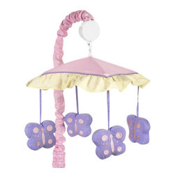 Sweet Jojo Designs - Butterfly Pink & Lavender Crib Mobile - The Butterfly Pink & Lavender Crib Mobile will have you putting your baby to sleep in style. When wound up this crib mobile spins and plays Brahms' lullaby. This musical crib mobile has been manufactured to fit standard sized cribs. The mobile set includes a musical mobile frame, canopy with hanging toys, and matching arm sleeve cover.