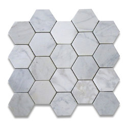 Carrara White 3 inch Hexagon Mosaic Tile Tumbled - Marble from Italy - Premium Grade Carrara Marble Italian White Bianco Carrera Tumbled 3 inch Hex Mosaic Wall & Floor Tiles are perfect for any interior/exterior projects such as kitchen backsplash, bathroom flooring, shower surround, countertop, dining room, entryway, corridor, balcony, spa, pool, fountain, etc. Our large selection of coordinating products is available and includes brick, herringbone, basketweave mosaics, 12x12, 18x18, 24x24, subway tiles, moldings, borders, and more.