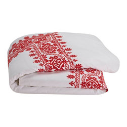 """Coyuchi - Aari Embroidered Duvet Cover King White w/Carmine - Lavish hand-guided embroidery frames the bed in texture and color. The intricate pattern of leafy, blooming vines is set against pure white cotton for a look that's festive and fresh. Designed with an 8""""interior flap and inside ties. Hidden coconut shell buttons."""