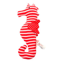 K�the Kruse - Squeaky Seahorse - This little seahorse is bound to give your little one waves of fun. It's a feast for the senses, handmade of bright red and white fabrics to keep young eyes entertained, is soft and grippable and makes noise with a squeaker inside.